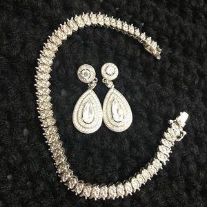 CZ. Bracelet & Earrings Set